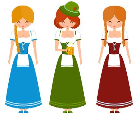 oktoberfest: German girls in traditional bavarian dress with beer and flag. Oktoberfest cute vector character illustration. Illustration