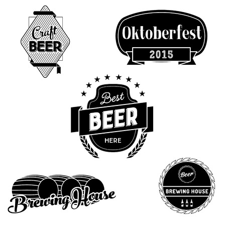beer house: Beer badges and logo. Black and white vector typography labels for beer packaging, bar menu, brewing house. Oktoberfest 2015 sign with ribbon. Illustration