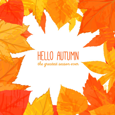 Bright fall frame with orange and red leaves. Hello autumn banner. Autumn background for advertisement, greeting cards and social media content Illustration