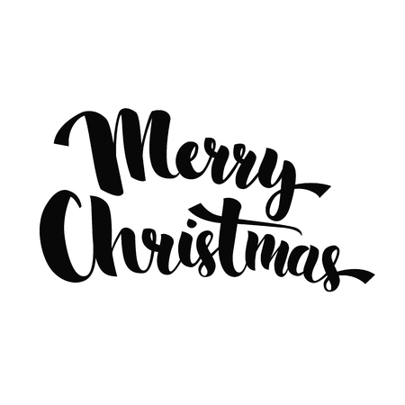 texts: Merry Christmas - lettering phrase for greeting cards, posters, promo. Handwritten calligraphy text, vector isolated on white background. Illustration