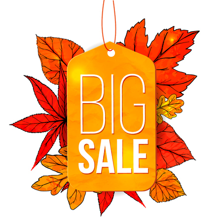 fall leaves on white: Big sale banner with autumn leaves and yellow tag isolated on white background. Fall sale vector design for retail advertisement campaigns.
