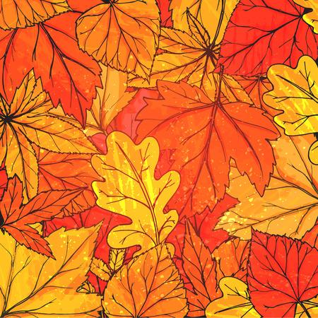 手で秋の背景には、黄金の葉が描かれています。ベクトルは秋広告、グリーティング カード、ソーシャル メディア コンテンツのためのテクスチャ  イラスト・ベクター素材