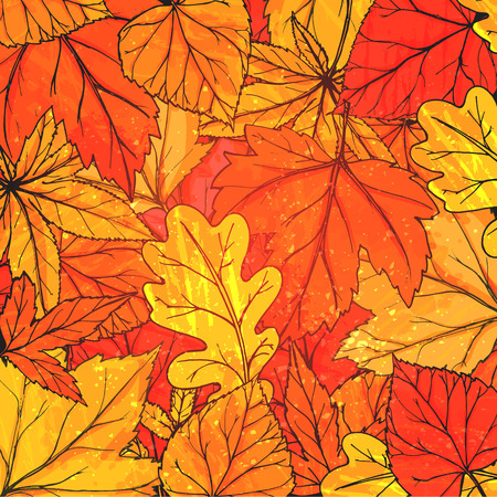 Autumn background with hand drawn golden leaves. Vector fall texture for advertisement, greeting cards and social media content.