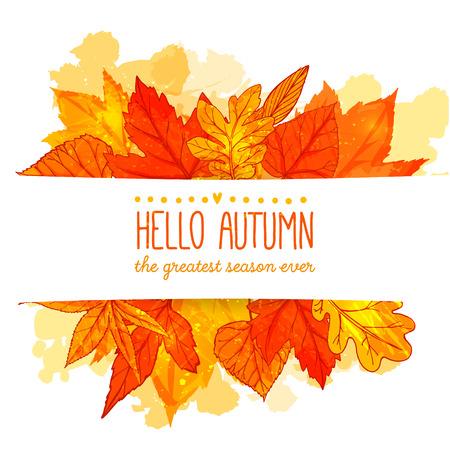 こんにちは秋バナー オレンジと赤の手描きを残します。黄金の葉と秋のベクトルの背景。  イラスト・ベクター素材