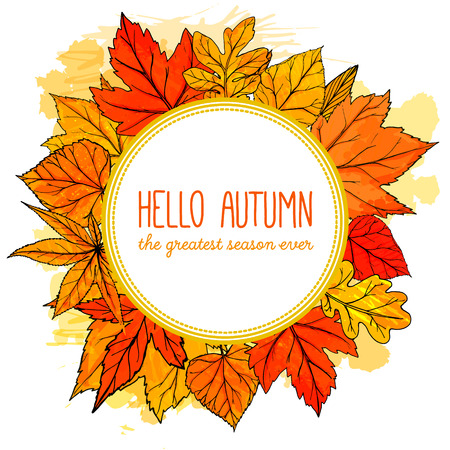 Autumn round frame with hand drawn golden leaves. Hello autumn banner. Vector fall design for advertisement, greeting cards and social media content.