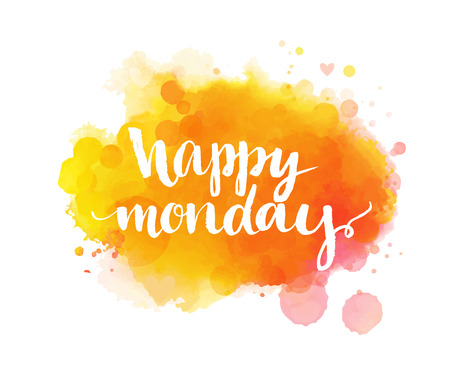 Happy monday. Inspirational quote, artistic vector calligraphy design. Colorful paint blot with lettering. Typography art for office posters, cards and social media Vectores