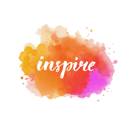 Inspire. Calligraphy word handwritten on bright orange and pink watercolor cloud. Inspirational quote, brush lettering for cards, posters and social media content. Vector design. Vectores