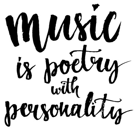 grunge music background: Music is a poetry with personality - inspirational quote about music. Lettering wall poster for music school or greeting card for musician. Calligraphy vector phrase at Illustration