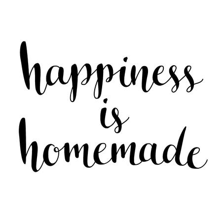 cotizacion: La felicidad es hecha en casa. Cita inspirada de la vida, hogar, relación. Frase caligrafía moderna. Letras del vector para las tarjetas, arte de la pared, posters.