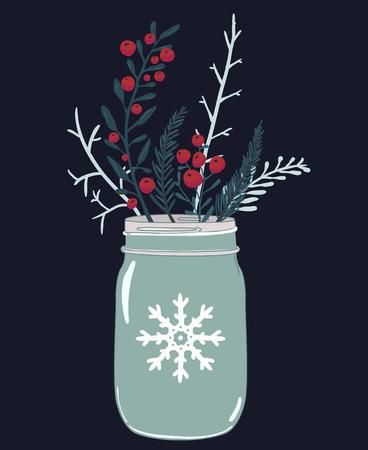 comida de navidad: frasco de vidrio y la composición de invierno de las bayas rojas, el acebo y las ramas de abeto. Ejemplo de la tarjeta de Navidad de vector.