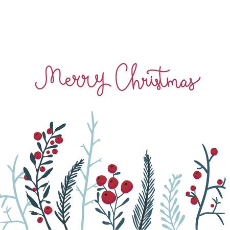 枝と赤い果実のメリー クリスマス カード。冬のベクトルの背景。