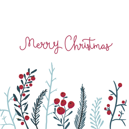 Merry Christmas card with red berries and branches. Vector winter background. Vettoriali