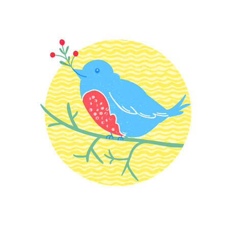linocut: Cute bird sits on the branch and hold a red berries. Winter vector illustration in linocut technique with grunge texture Illustration