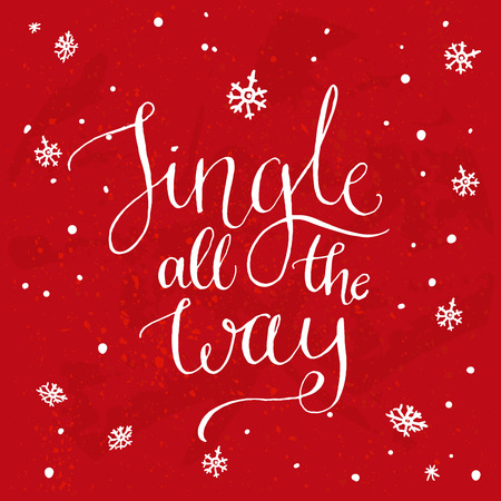 all: Jingle all the way. Christmas song inspirational quote, vector calligraphy for greeting cards at red background