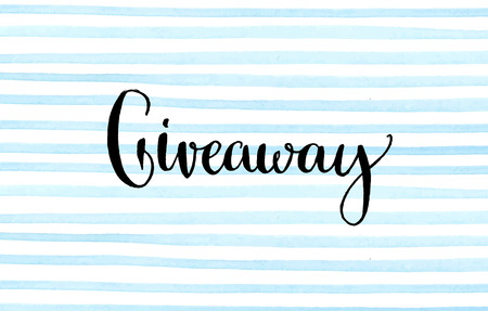 giveaway: Giveaway banner for social media contests and special offer. Vector hand lettering at blue watercolor stripes background. Modern calligraphy style.