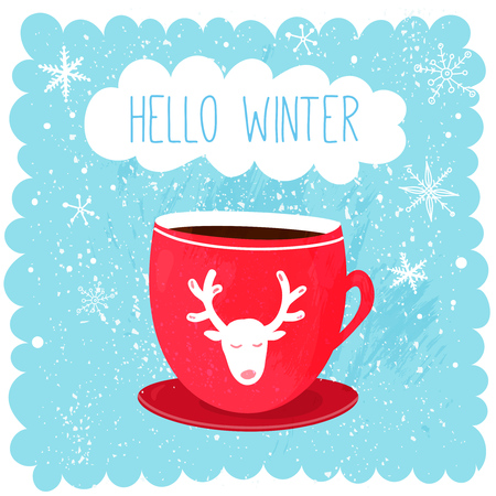 Hello winter illustration with red cup with deer at blue snow background. Cute christmas card design. Ilustração