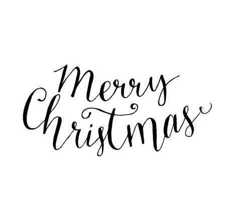 Merry Christmas Text Brush Calligraphy Type Vector Lettering