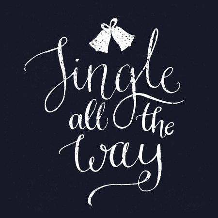 Jingle all the way. Christmas song inspirational quote with bells, vector calligraphy for greeting cards at vintage blue background