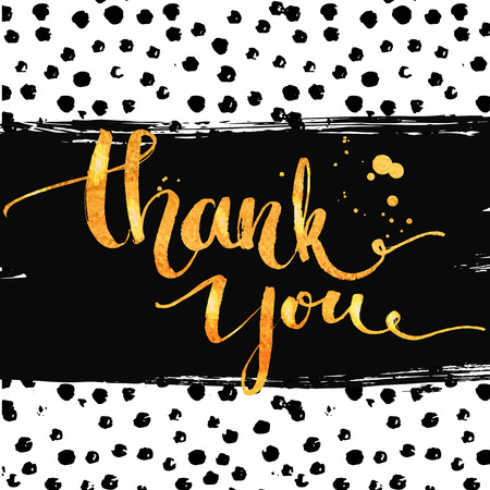 thank you cards: Thank you. Gold calligraphy with ink drops. Hand lettering on dots marker texture. Vector design for customer service, social media content and thank you cards.