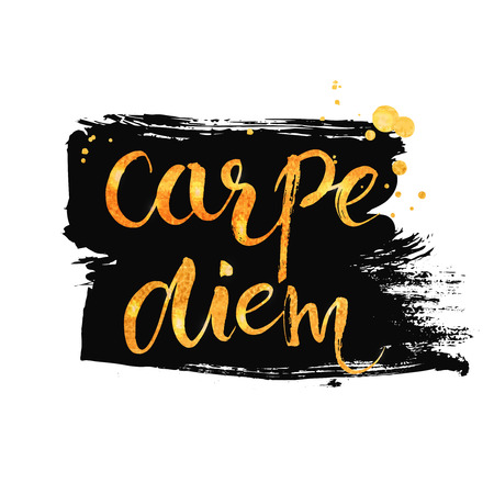 to seize: Carpe diem - latin phrase means seize the moment. Inspirational quote expressive handwritten with brush and golden paint at dry brush black ink strokes. Vector calligraphy art. Illustration