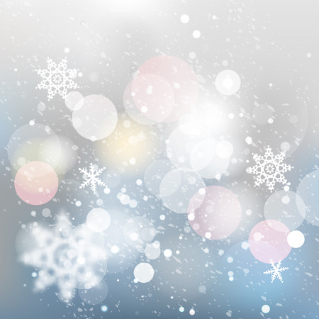 Winter defocused background. Falling snow texture with bokeh lights and snowflakes. Christmas background with silver, gray and blue colors. Illustration