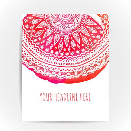 zen attitude: Flyer mise en page avec ornatemt ronde à l'aquarelle toile de fond rose et rouge. Conception concept pour le yoga, la beauté et spa salons. motif ethnique.