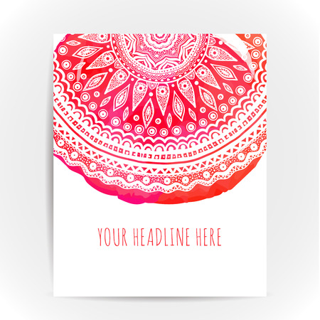 Flyer layout with round ornatemt at pink and red watercolor backdrop. Design concept for yoga, beauty and spa salons. Ethnic motif. Illustration