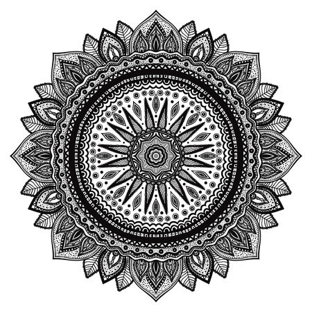 complex: Black mandala, indian motif. Ornate round ornament. Hand drawn detailed vector illustration.