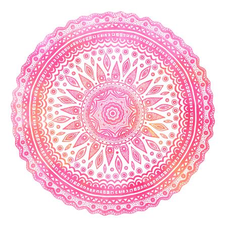 divali: Pink watercolor mandala, indian motif. Ornate round ornament