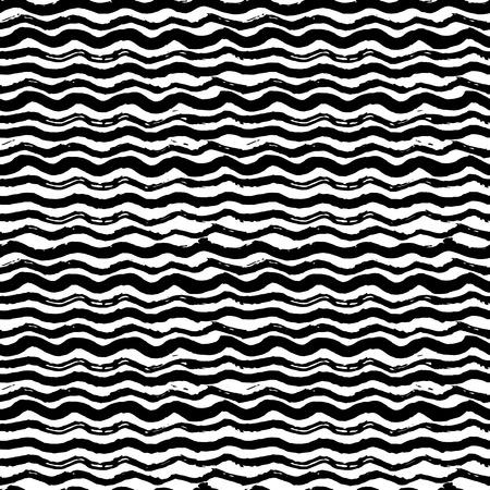 波 - 手の描かれたマーカーとインクのシームレスなパターン。大胆な波状線黒チクチク テクスチャ