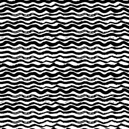 scratchy: Waves - hand drawn marker and ink seamless pattern. Black scratchy texture with bold wavy lines Vectores