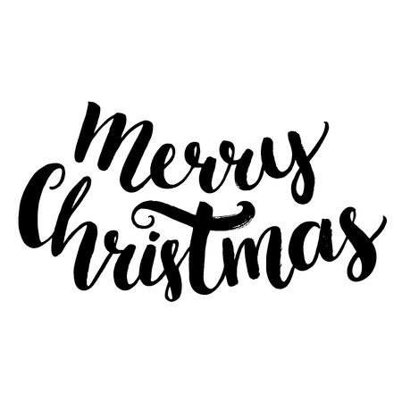 Merry christmas text. Brush calligraphy type, vector lettering isolated on white background Vettoriali