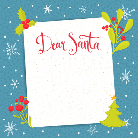 Dear Santa - letter to Santa Claus with copyspace at decorated Christmas background. Vector wishlist design layout. Çizim
