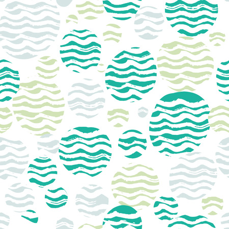 graphic pastel: Abstract pastel seamless pattern with white wavy strokes. Green, turquoise and pastel blue colors, spring summer fashion trendy background. Ovals and circles with hand drawn waves, vector repeated texture.