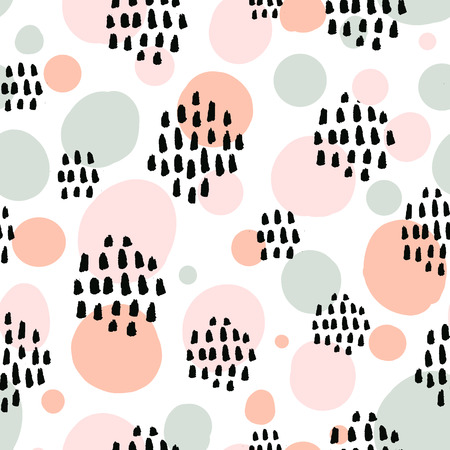 Abstract pastel seamless pattern with black marker strokes. Light blue and pink colors, spring summer fashion trendy background. Ovals and circles with hand drawn marks, vector repeated texture