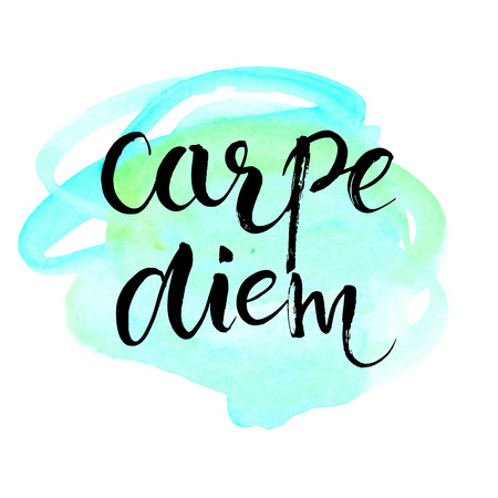 to seize: Carpe diem - latin phrase means seize the day, enjoy the moment. Inspirational quote expressive handwritten with brush on blue watercolor imitation texture background. Vector calligraphy art. Illustration