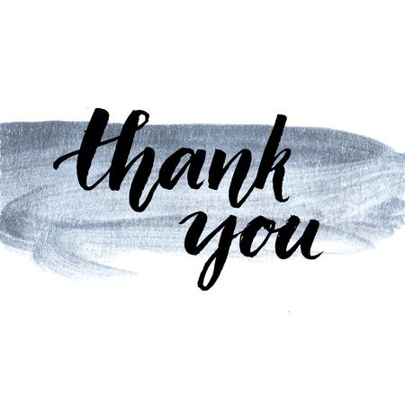 merci: Je vous remercie. phrase calligraphie manuscrite sur l'argent coup de peinture. Brush lettrage pour le service client, le message suivant l'achat. Vector design.
