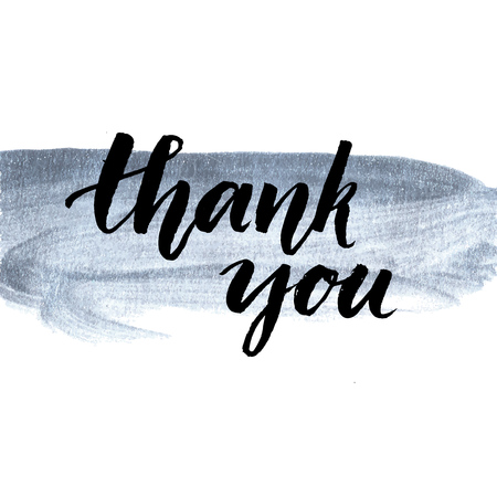script: Thank you. Calligraphy phrase handwritten on silver paint stroke. Brush lettering for client service, message after purchase. Vector design. Illustration