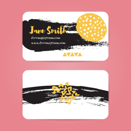 business card design: Business card with brush ink strokes. Abstract black splotches and stains with yellow spots. Vector layout with rounded corners. Design for artists, photographer, creative professionals. Illustration