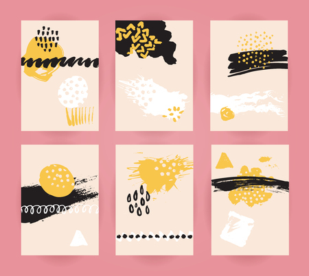 Set of trendy abstract backgrounds. Flyer and cards backdrops with ink spots and stains, marker strokes and dots. Paper cards