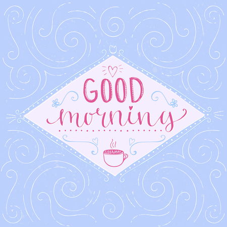 new job: Good morning -  calligraphy phrase, start of the day greeting. Hand lettering, pastel pink and blue colors. Vector banner design for social media