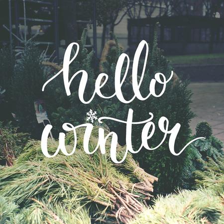 diciembre: Hola superposición de la tipografía de invierno en la foto del mercado europeo del árbol de Navidad.