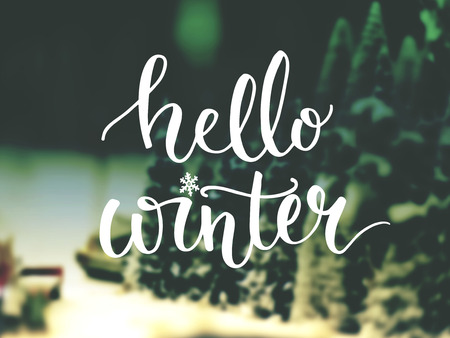 december: Hello winter typography overlay on photo of Christmas trees. Lettering banner for greeting cards and social media content.