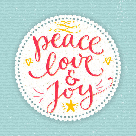 Peace, love and joy text. Christmas card with custom handwritten type, vector point pen calligraphy. Red phrase in round frame on blue knit texture background. Illustration