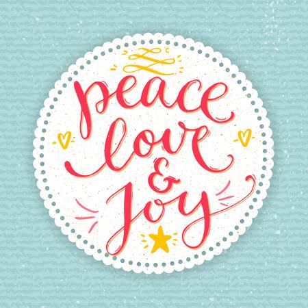 Vrede, liefde en vreugde tekst. Kerstkaart met aangepaste handgeschreven type vector pen kalligrafie. Rood zin in ronde frame op blauwe gebreide textuur achtergrond.