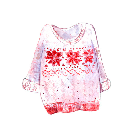 cozy: Warm and cozy sweater with scandinavian pattern with geometry snowflakes. Red and white colors. Winter watercolor illustration isolated on white background