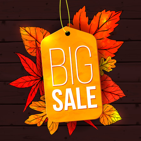 Big sale banner with autumn leaves and yellow tag on wooden background. Fall sale vector design for retail advertisement campaigns.