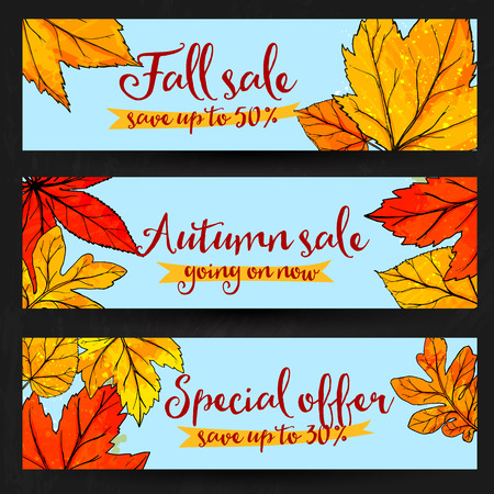 hi back: Autumn sale banners with golden and red leaves. Set of fall promo vector designs with hand drawn art Illustration