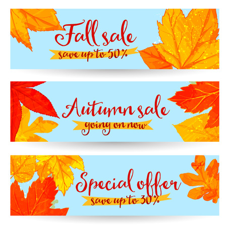 Autumn sale banners with golden and red leaves. Set of fall promo vector designs with hand drawn art Illustration
