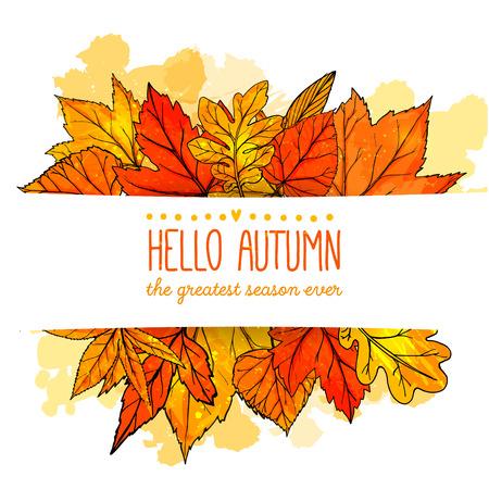Hola otoño banner con naranja y rojo dibujado a mano las hojas. Vector fondo de otoño con hoja de oro.